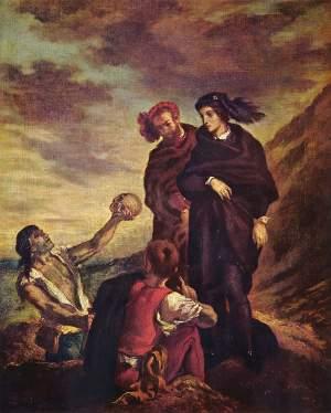 Amleto e Orazio al cimitero, secondo la rappresentazione di Delacroix, immagine in pubblico dominio, fonte Wikimedia Commons, utente Eloquence