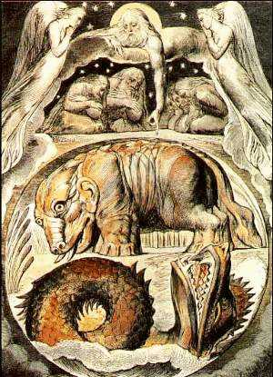 Behemoth e Leviatano in un'incisione di William Blake - Immagine in pubblico dominio, fonte Wikimedia Commons