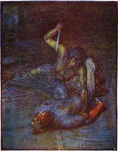"Beowulf in lotta con la madre di Grendel - Immagine in pubblico dominio tratta da ""Stories of Beowulf"" di Henrietta Elizabeth Marshall, fonte Wikimedia Commons"