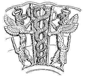Ningizzida, il dio serpente sumero, propone una figura mitica comune a molte altre culture, ma utilizzato come oppositore dei malefici e delle possessioni demoniache - Immagine in pubblico dominio, fonte Wikipedia
