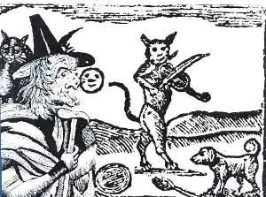Gatto e strega. Illustrazione del 1618, tratta dal web